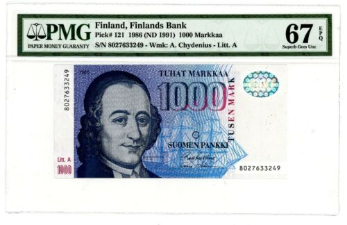 Finland ... P-121 .. 1000 Markkaa .. 1986(1991) .. Superb Gem *UNC* PMG 67 EPQ