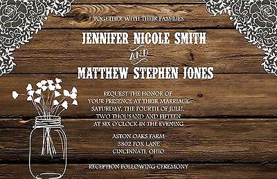 Wedding Invitations Wood Lace Mason Jar Rustic 50 Invitations & RSVP Cards