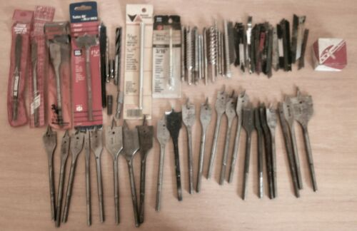 Lot of 80 Pieces Garage Junk Draw Drill Bits Jig Saw Blades miscellaneous items
