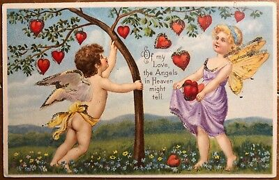 Valentine's Day Postcard Cupids Picking Hearts from a Tree - used in 1906 - Valentine's Day Tree
