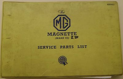 MG Magnette Mark III & IV original illustrated Service Parts List No. AKD953