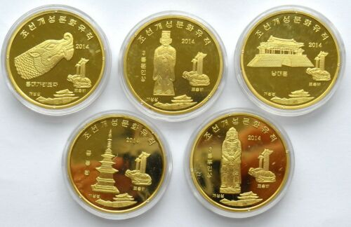 L3145, Kaesong World Heritage, Korea 5 Pcs Commemorative Coins, 2014