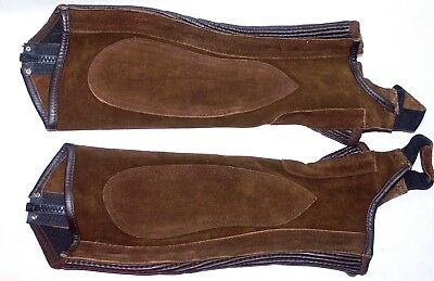 (Ovation Suede Stitched Rib Brown Half Chaps. Size XS)