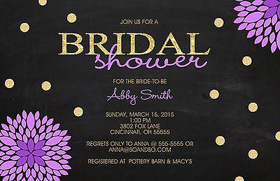 Gold Glitter Flower Chalkboard Bridal Wedding Shower Invitation Any Colors - Chalkboard Bridal Shower Invitations
