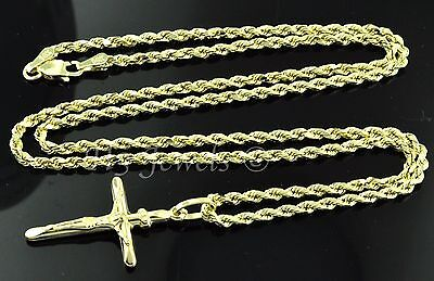 14k solid yellow gold hollow rope chain necklace & cross pendant  #3580 (14k Hollow Cross Pendant)