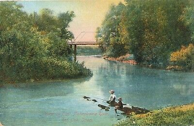 RED OAK IA – View on East Nishnabotna River showing People Fishing Oak View Cherry