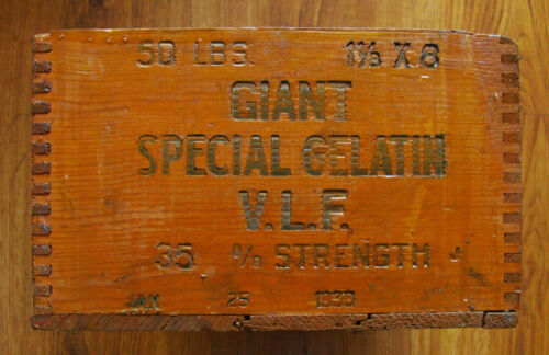 BISBEE COPPER QUEEN ANTIQUE OLD MINING EXPLOSIVES BOX - GIANT SPECIAL 1930 MINE