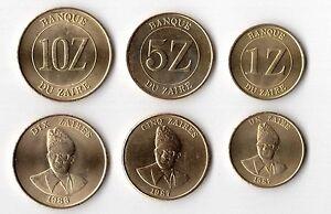 ZAIRE-3-DIF-UNC-COINS-SET-1-10-ZAIRES-1987-88-YEARS