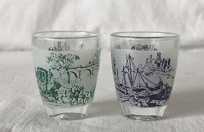 2 Shot Glasses From the Same Series Each Depicting Vintage Scene Made in France