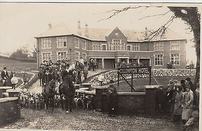 Superb postcard of a hunt & hounds outside The Cullompton Hotel by G J Cross