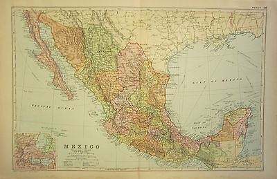 1912 LARGE ANTIQUE MAP ~ MEXICO ~ CENTRAL AMERICA