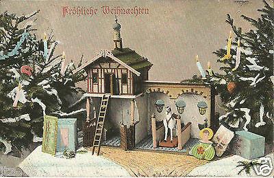 Weihnachten, Spielzeug, Pferdestall für Kinder unterm Christbaum, Ak von 1907