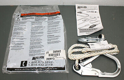 Honeywell Miller 6' Restraint Lanyard 202RRS-2/6FTWH, Lock Snap & Rebar Hooks (2 Rebar Snap Hooks)
