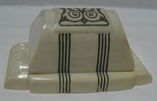 Vintage Art Deco White & Black Ring Box - Hagerstown, MD. Jeweler