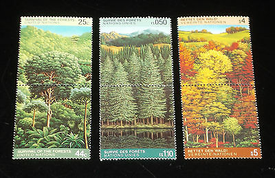 U.N. 1988, SURVIVAL OF THE FORESTS, PAIRS ,MNH,ALL 3 OFFICES,