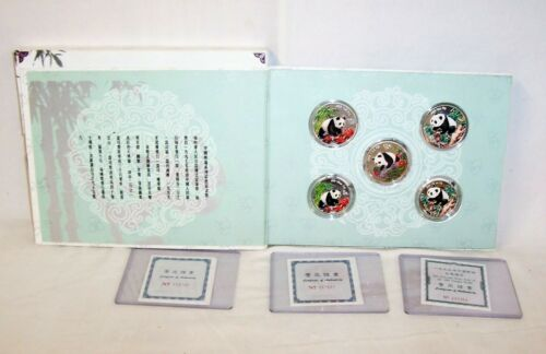 1997 - 1998 - 1999 CHINA COLORED SILVER PROOF PANDA 5 COIN  SET