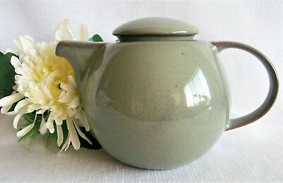 (Teapot with Notched Lid Art Deco Style Sage Green Stoneware, Gorgeous Tea Pot)