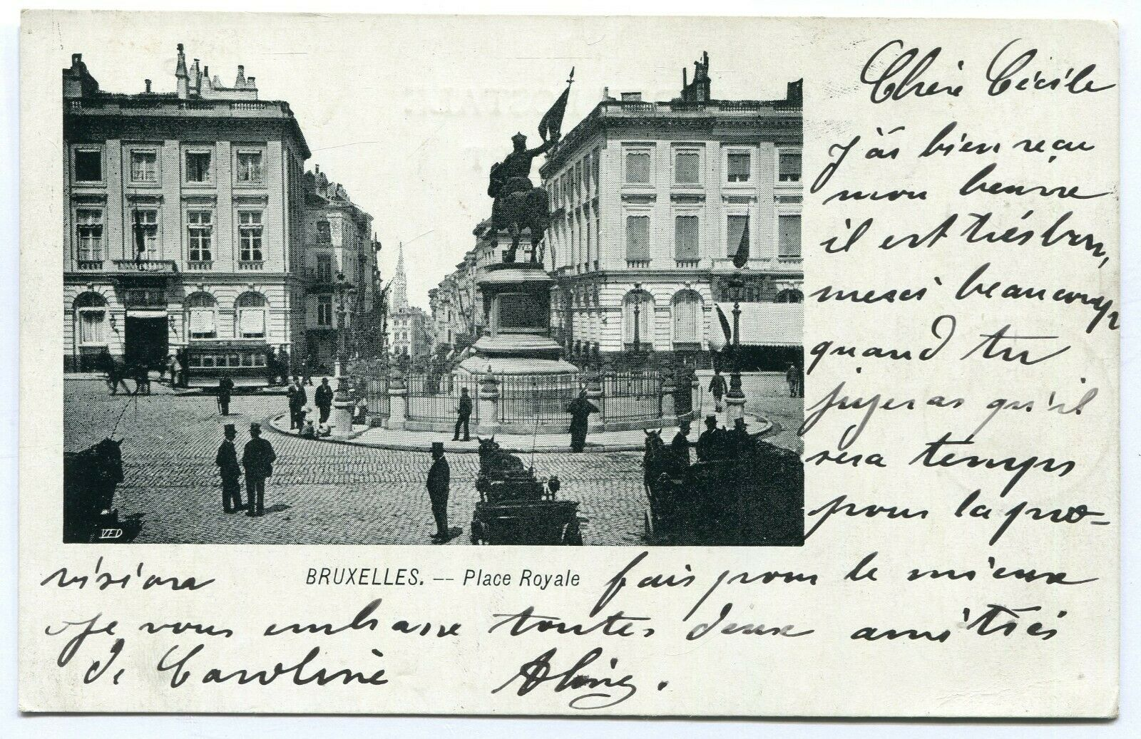 CPA - Carte Postale - Belgique - Bruxelles - Place Royale - 1903 (B8747)
