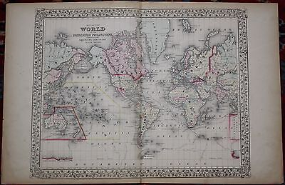 The World Rare Original Antique 1870 Mitchell's Atlas Map