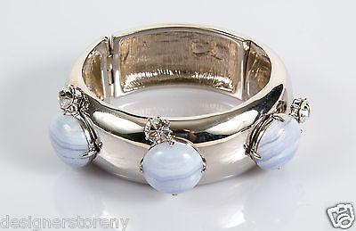 Judith Leiber Cabochon Silver Tone Bracelet Cuff
