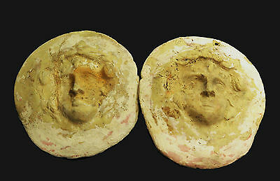 PAIR OF ANCIENT GREEK POTTERY ROUNDEL BADGES