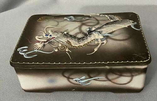 Vintage RELCO Creation Japan Dragonware Moriage Cigarette Box Trinket Box GREAT
