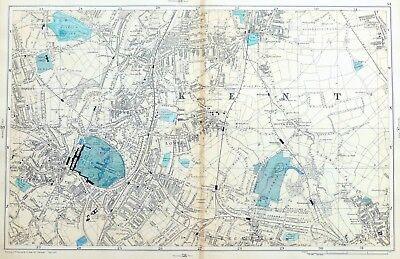 LONDON, 1895 - SYDENHAM, PENGE, BROMLEY, Original Antique Map, Bacon.