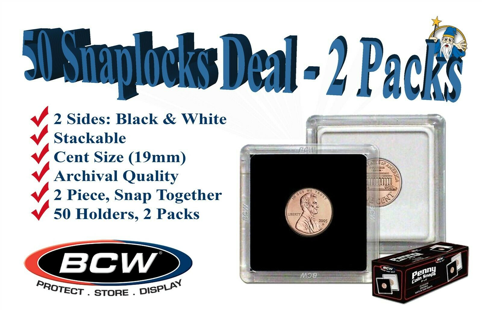 10 BCW PENNY 2X2 TWO PIECE SNAP CLEAR PLASTIC SQUARE COIN STORAGE HOLDERS