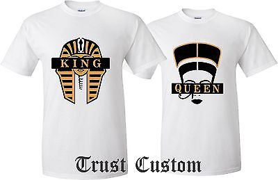 Couple Matching Love T-Shirts - King And Queen - His and Her Cleopatra Egyptians (His And Hers Shirts)
