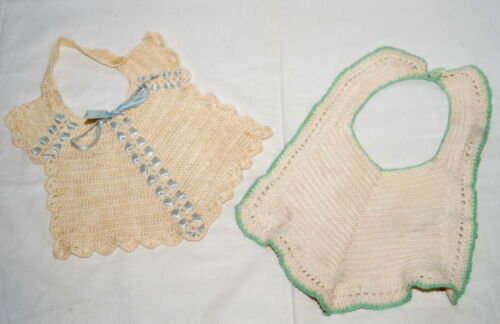 Vtg Baby Bibs Hand Crochet w Buttons Blue Ribbon Green Trim Lot Dolls Farmhouse
