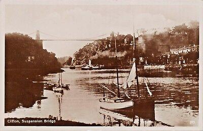 CLIFTON BRISTON UK SUSPENSION BRIDGE & SAILBOATS-PHOTO POSTCARD