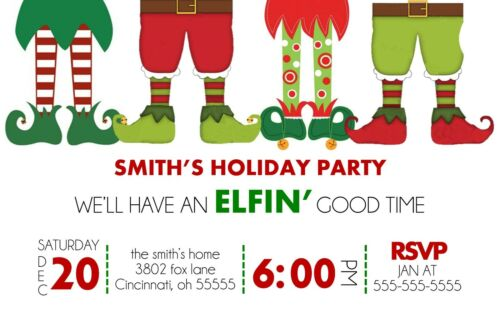 Elfin Good Time Holiday Christmas Party Invitations