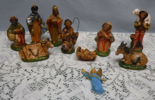 10 Piece Vintage Nativity Set Paper Mache ? Plaster ? Mary Joesoph Jesus Wise +