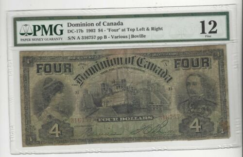 """1902 Dominion of Canada DC-17b $4 """"FOUR"""" Top Left & Right SN# A 316757 PMG F-12"""