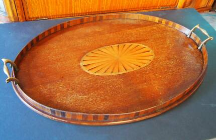 Antique Sheraton inlaid oval gallery tray Wollstonecraft North Sydney Area Preview