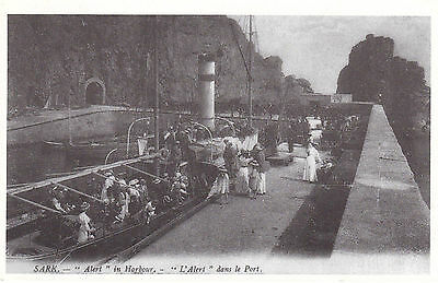 1980's SARK IN THE PAST REPRO OF HARBOUR SCENE CHANNEL ISLANDS UNUSED POSTCARD