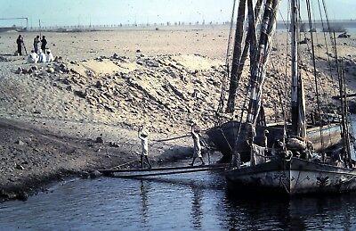 Original Slide, Unloading a Vintage Sail Boat in the Middle East / North Africa