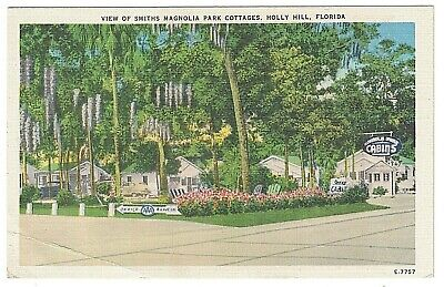 Park Cottages - Postcard Linen FL View of Smiths Magnolia Park Cottages Holly Hill Unposted