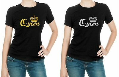 QUEEN KING CROWN T-Shirts Funny LOVE valentines day Couples Matching T-SHIRT