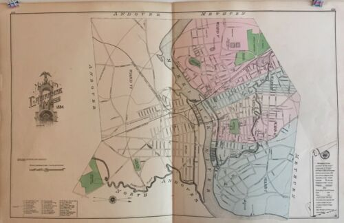 City of Lawrence, Massachusetts Lithograph Map 1884