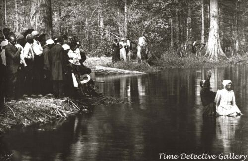 African American Woman Baptized in River, S. Carolina c1900-Historic Photo Print