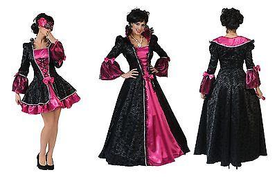 Barock Rokoko Kleid pink schwarz Damen Mädchen Kostüm kurz o. lang - Rokoko Kleid Kostüm