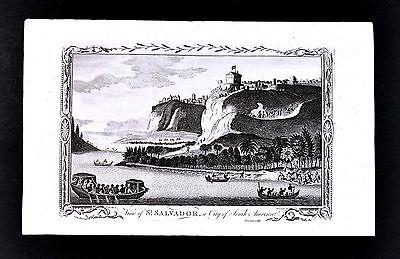 1782 John Sherwin Print St. Salvador a City of South America Brazil Bahia Sao