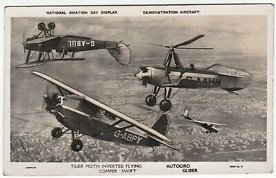RARE Aviation RPPC - British National Day  Tiger Moth Comper Autogiro 1932 Photo