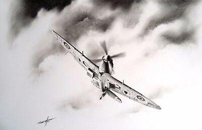 Spitfire WWII RAF Limited Ed PRINT Dunkirk Original Pencil Drawing Artist Signed