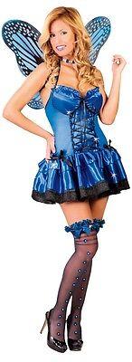 Damen Sexy Blau Schmetterling Fee Insekten Tier Kostüm Kleid Outfit 12-14