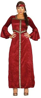 Prinzessin Renaissance Kostüm (Damen Rote Renaissance Prinzessin Mittelalterlich Kostüm Kleid Outfit 14-18)