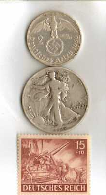 #-9)-WWII-*US and *German- SILVER  EAGLE coins + *WWII-*rare*German Stamp
