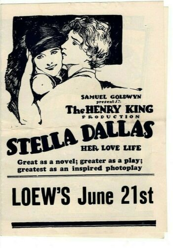 """STELLA DALLAS""  BELLE BENNETT & RONALD COLMAN ~ Silent Film Movie Herald"