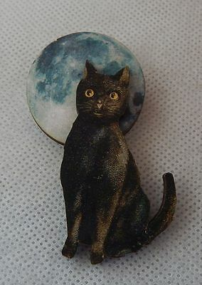 Black Cat & Blue Moon Brooch or Scarf Pin Wood Accessories NEW Fashion